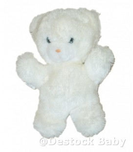 Doudou peluche OURS blanc BOULGOM Grelot Yeux bleus 24 cm Made in France