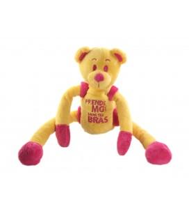 Peluche doudou Ours jaune rose Prend moi dans tes bras CMP 34 cm