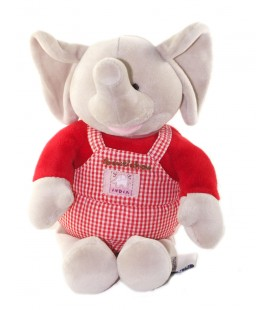 Peluche doudou Elephant India Gris rouge Salopette carreaux 28 cm BOUT CHOU
