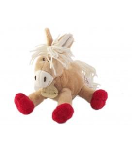 Doudou peluche Cheval Poney Ane beige rouge Histoire d Ours 20 cm