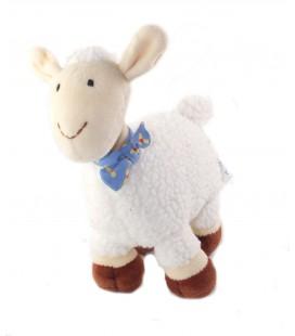 Doudou peluche Mouton blanc marron foulard bleu 20 cm Okaidi