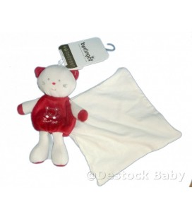 Doudou CHaT Cajou 18 cm blanc rouge BERLINGOT Mouchoir
