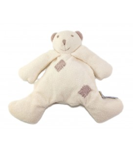 Doudou ours blanc gris beige Babysun 22 cm
