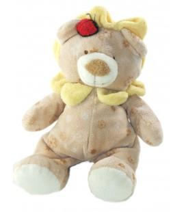 Doudou Peluche Lion beige Fleurs Coccinelle 30 cm TY