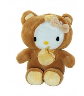 Peluche doudou Hello Kitty deguisee en ours marron jaune 20 cm