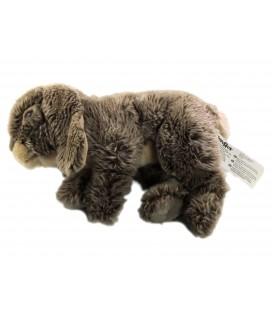 Peluche Lapin Lievre blanc gris marron Toys R Us 28 cm