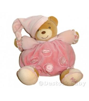 Doudou OURS boule KaLOO rose Coll. Lilirose Fleurs Bonnet H 20 cm Grelot