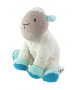 Peluche doudou Mouton Agneau blanc bleu gris Scratch Nature et Decouvertes 17 cm