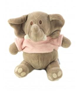 Peluche doudou Elephant gris Pull rose TOODO 20 cm