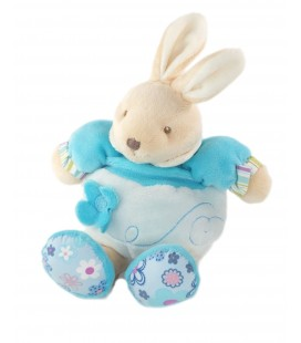Doudou Lapin bleu Fleur TOODO Grelot 28 cm