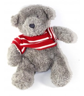 Peluche doudou ours gris pull rouge rayures LOGG 25 cm