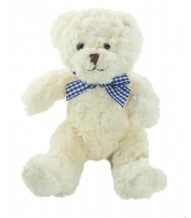Doudou Peluche ours blanc Noeud carreaux bleu SUNKID 30 cm