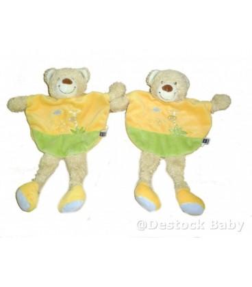 LOT de 2 Doudou plat ours orange vert TEX Baby Carrefour Girafe brodée