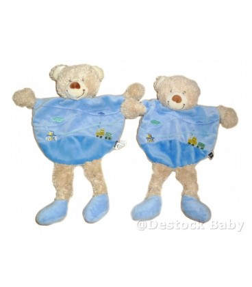 LOT de 2 Doudou plat ours Bleu TEX Baby Carrefour Train cubes brodés