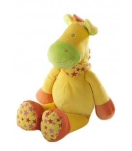 Peluche Doudou cheval Ane jaune orange etoiles Foulard 35 cm