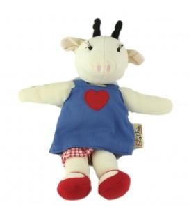 LATITUDE Doudou Vache girafe blanche robe bleue coeur rouge 30 cm