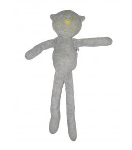 Doudou Chat gris jaune fluo BOUT CHOU Monoprix 30 cm