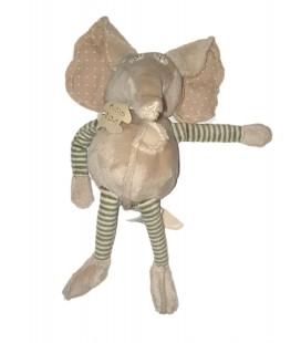 Peluche Doudou Elephant beige vert rayures HISTOIRE D OURS 26 cm