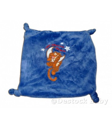 Doudou plat TIGROU bleu Disney Tigger Jumped Over the moon 4 noeuds