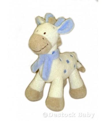 Doudou GIRaFE Blanche Bleue NICOTOY The Baby Collection Grelot H 22 cm