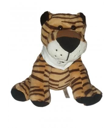 Peluche doudou Tigre marron noir Foulard Docteur Clown 15 cm