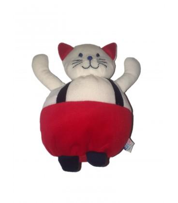 Doudou chat blanc rouge bleu salopette Sucre d'Orge 20 cm