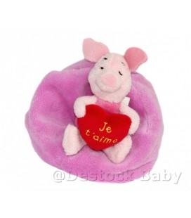 Peluche doudou PORCINET sur coussin Coeur Je t'aime Disney Nicotoy 13 cm