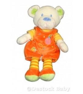 Doudou peluche ours orange Mots d Enfants Poussin Maison 25 cm