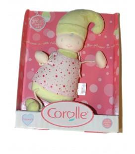 NEUF Poupée Doudou lutin Vert anis COROLLE - Robe rose pois - Grelot - 30 cm 2003