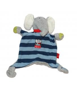 Doudou plat Elephant Lolo gris bleu rayures Sigikid