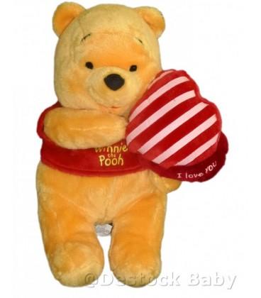 Peluche doudou WINNIE L'OURSON The Pooh Coeur I love you Disney Nicoty H 28 cm
