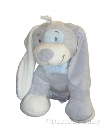 Doudou peluche chien gris bleu Noukies Gd Mod. L 35 cm