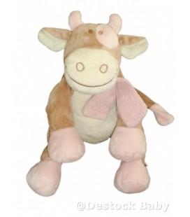 Doudou peluche Vache Lola rose beige NOUKIE'S Noukies H 30 cm assis
