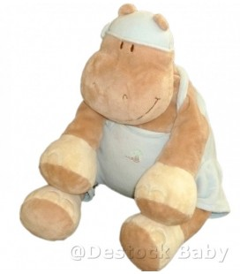 Doudou peluche HIPPOPOTaME beige bleu NOUKIE'S Noukies H 25 cm assis