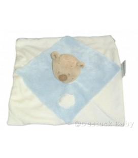 Doudou plat ours blanc bleu NATTOU Jollymex Nuage