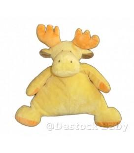 Doudou peluche Renne Elan Cerf Caribou jaune orange 28 cm
