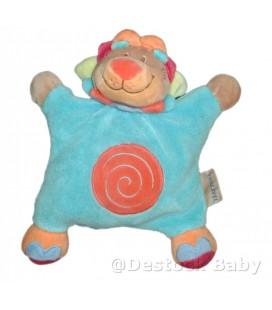 Doudou coussin LION bleu Oasis Semi Plat Grelot NATTOU Spirale