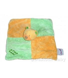 Doudou plat OURS orange vert BENGY