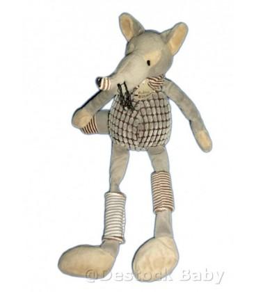 Doudou Histoire d'ours loup pantin gris Vagabond HO2074 Taille 40cm