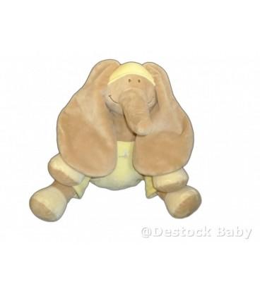 Doudou peluche ELEPHANT beige jaune NOUKIE'S Noukies H 28 cm