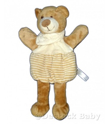 Doudou Marionnette OURS beige blanc rayures MaXITa 28 cm