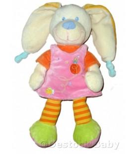 Doudou peluche lapin rose orange Mots d Enfants robe Maison oiseau 25 cm