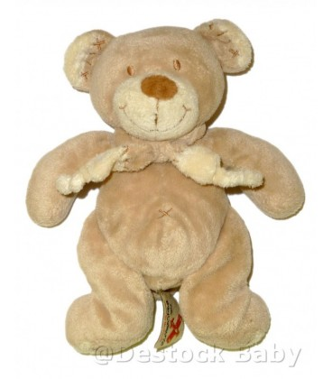 Doudou OURS Nicotoy The Baby Collection Croix nombril H 18 cm