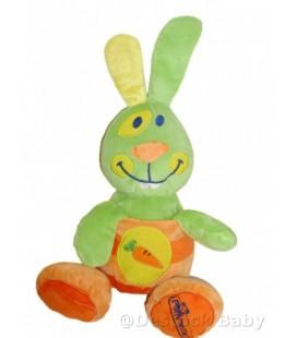 Doudou peluche LAPIN orange vert POMMETTE 42 cm Grelot