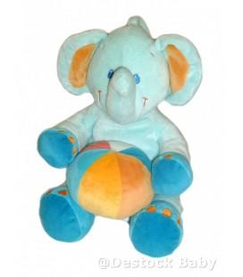 Doudou Musical peluche ELEPHaNT bleu POMMETTE Ballon multicolore