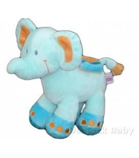 Doudou ELEPHANT bleu orange POMMETTE H 20 cm