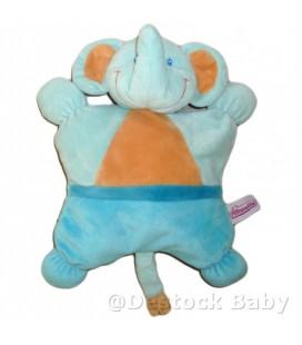 Doudou semi plat peluche ELEPHANT bleu orange POMMETTE