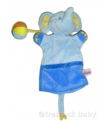 Doudou marionnette ELEPHaNT bleu orange POMMETTE avec sa balle