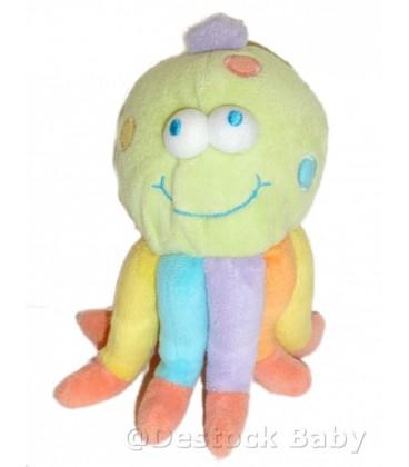 Doudou peluche Pieuvre Multicolore Jollybaby Grelot 20 cm