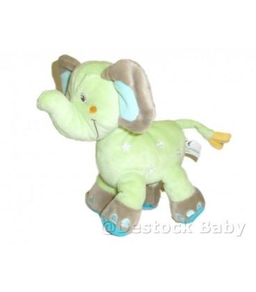 Doudou éléphant vert bleu étoiles Nicotoy 20 cm 579/8921